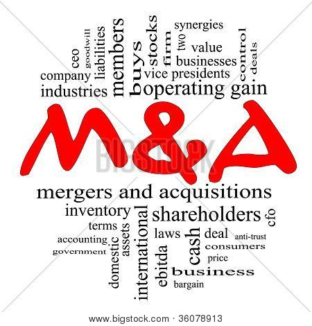 M & A (mergers And Acquisitions) Word Cloud Concept In Red & Black