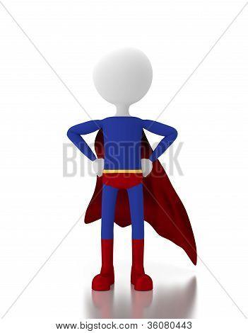 Pessoa 3D em um traje de Super herói