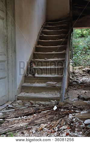 Old Wooden Staircase And Dirty Floor