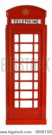 Iconic British Red Telephone Box Isolated on White Background