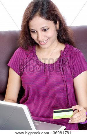 Young Indian Woman Onling Shopping