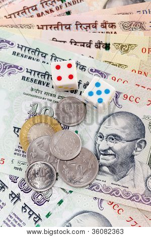 Dices, Coins And Indian Rupee Notes