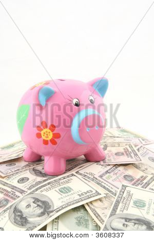 Piggy Bank Over Stack Of Money