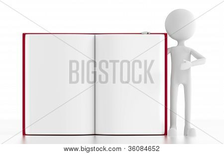 3D Person Stands Next To An Open Blank Book.
