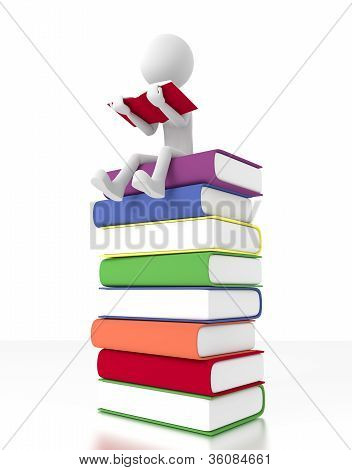 3D Person Sit On A Pile Of Books Reading A Book.