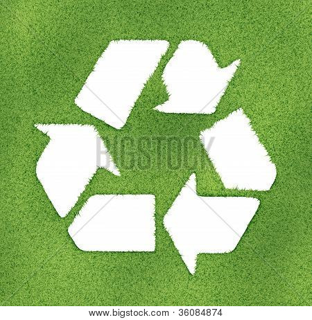 Recycle Symbol Made On Grass Outlines. 3D Image Render.