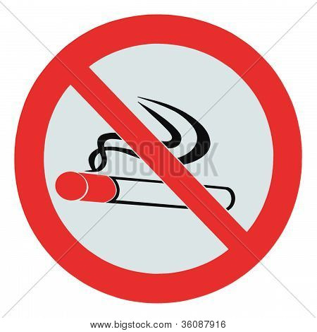 No Smoking Zone Prohibition Sign, Isolated Crossed Cigarette Icon Red Signage, Smoking Is Not Permit