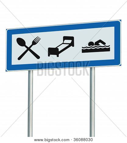Parking Lot Road Sign Isolated, Restaurant, Hotel Motel, Swimming Pool Icons, Roadside Signage Pole