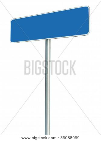 Blank Blue Road Sign Isolated, Large White Frame Framed Roadside Signboard Perspective Copy Space