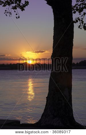Sunset on Mississippi River