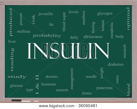 Insulin Word Cloud Concept On A Blackboard