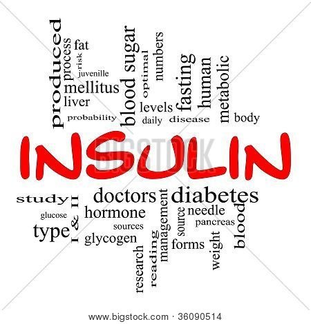 Insulin Word Cloud Concept In Red & Black