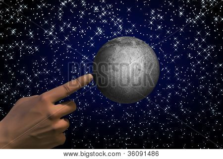 Abstract Moon And Hand