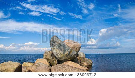 Stone Mound On The Lake