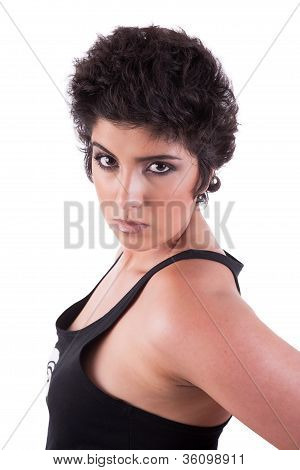 Beautiful And Serious Woman, Looking To Camera, On White Background, Studio Shot