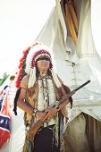pic of wigwams  - North American Indian in full dress - JPG