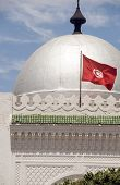 Landmark Large Silver Dome Mosque And Flag Sousse Tunisia Africa poster