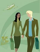 Man And Woman With Bags Arriving At A Tropical Destination poster