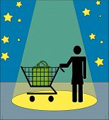 Stick Woman With Shopping Cart In Spotlight. poster
