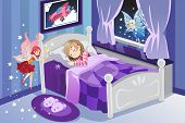 stock photo of tooth-fairy  - A vector illustration of a tooth fairy visiting a sleeping girl - JPG