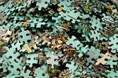 stock photo of brain teaser  - set of puzzles for the development of abstract thinking - JPG