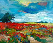 stock photo of acrylic painting  - Original oil painting of fields of flowers on canvas - JPG