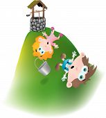 stock photo of nursery rhyme  - Jack and Jill ran up the hill to fetch a pail of water - JPG
