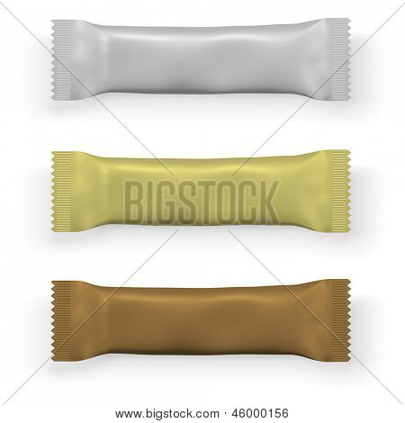 Blank chocolate or protein bar packaging template isolated on white background.