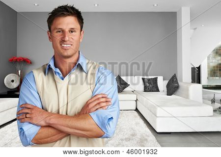 Young successful man at new modern home