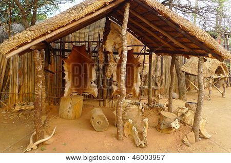Inside of the Great Kraal in Shakaland Zulu Village, South Africa