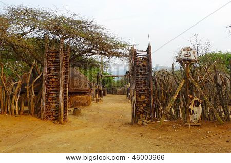 Entrance to the  Great Kraal  in Shakaland Zulu Village, South Africa