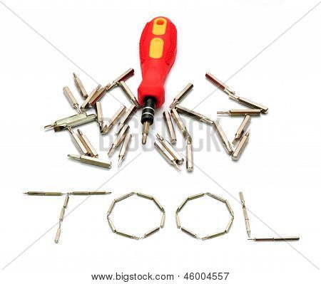 Tool Yellow Screwdriver Heads Toolkit Isolated On White
