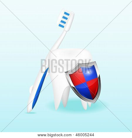 Tooth with a shield and a toothbrush, vector illustration