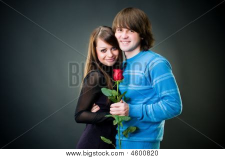 Romantic Couple With Rose