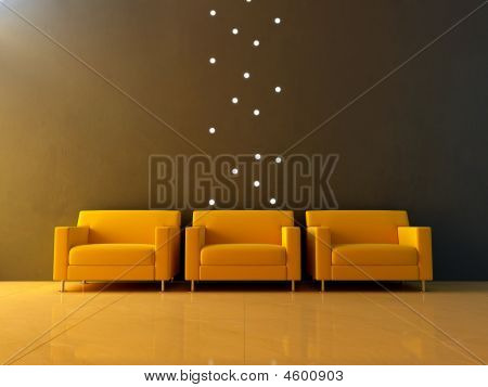Interior - Three Yellow Seats In Waiting Room