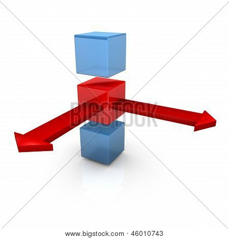 Three Cubes Two Arrows