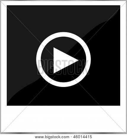 Photo Frame With Play Button, Isolated On White