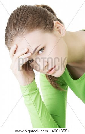 Young sad woman, have big problem or depression, over white background