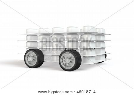 Pack Of Pills With Wheels Attached