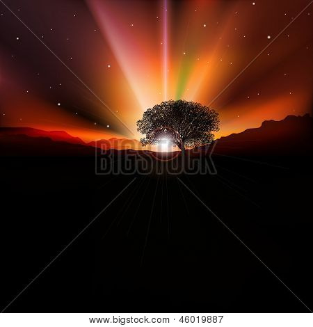 Abstract Background With Sunrise And Mountains