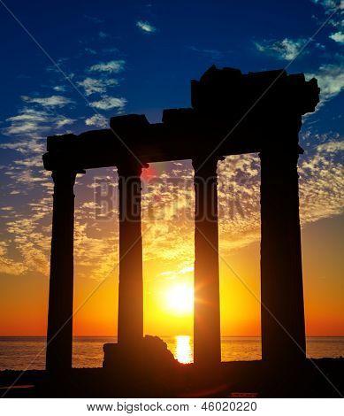 Side Antalya ancient ruins on sunset, Turkey