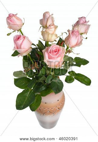 Bouquet Of Pink Roses In A Ceramic Vase
