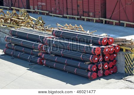 Stacked PVC and steel pipe