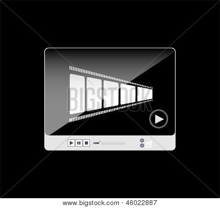 Media Player Interface With Film Strip On Black