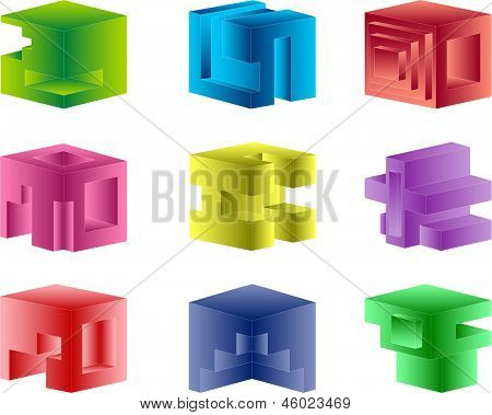 Abstract color cubes construction on white
