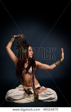 Young Attractive Retro Model In Old-fashioned Wild Clothing Dancing