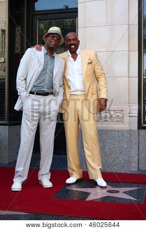 LOS ANGELES - MAY 13:  Samuel L. Jackson, Steve Harvey at the Steve Harvey Hollywood Walk of Fame Star Ceremony at the W Hollywood Hotel  on May 13, 2013 in Los Angeles, CA