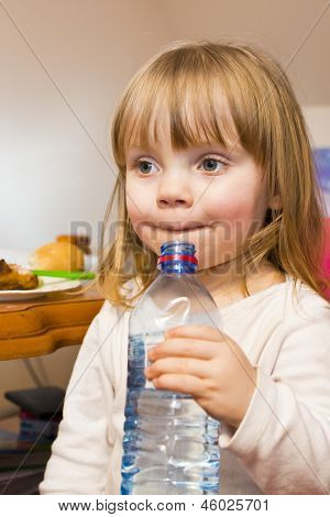 Little Girl Drinks Water