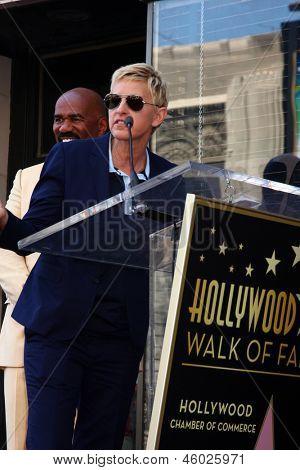 LOS ANGELES - MAY 13:  Ellen DeGeneres, Steve Harvey at the Steve Harvey Hollywood Walk of Fame Star Ceremony at the W Hollywood Hotel  on May 13, 2013 in Los Angeles, CA