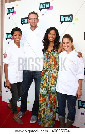 LOS ANGELES - MAY 22:  Kristen Kish, CJ Jacobson, Padma Lakshmi, Brooke Williamson arrives at the Bravo Media's Event at the ATAS Theater on May 22, 2013 in No. Hollywood, CA